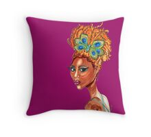 Peacock Butterfly Pinup Throw Pillow