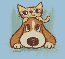 Sketch of kitten and dog One Piece - Short Sleeve