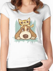 Sketch of kitten and dog Women's Fitted Scoop T-Shirt