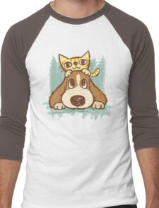 Sketch of kitten and dog Men's Baseball ¾ T-Shirt