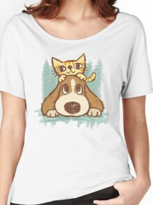 Sketch of kitten and dog Women's Relaxed Fit T-Shirt