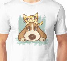 Sketch of kitten and dog Unisex T-Shirt