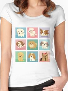 Many poses of puppies Women's Fitted Scoop T-Shirt