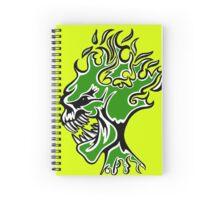 Flaming Head Green  Spiral Notebook