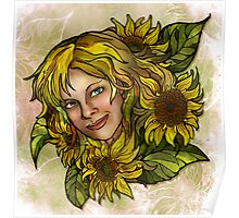 Jenny's Sunflowers Poster