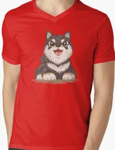 Black shiba dog Mens V-Neck T-Shirt