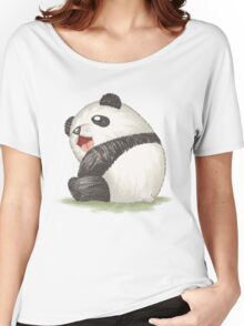 Happy panda sitting Women's Relaxed Fit T-Shirt