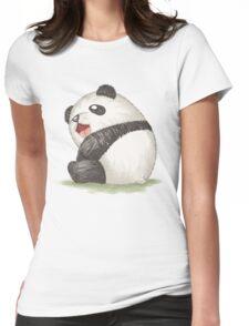 Happy panda sitting Womens Fitted T-Shirt