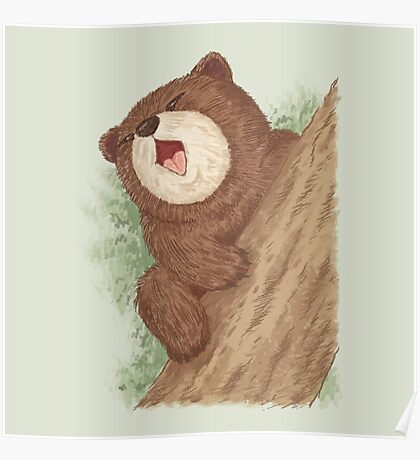 Bear on tree Poster