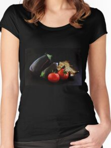 Eggplant and Tomato still life Women's Fitted Scoop T-Shirt
