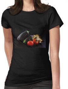 Eggplant and Tomato still life Womens Fitted T-Shirt