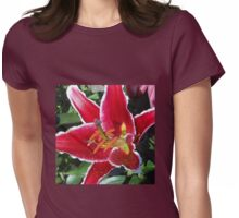 Pink Oriental Lily Macro Womens Fitted T-Shirt
