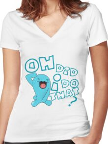 wobbaffet pokemon did i do that? Women's Fitted V-Neck T-Shirt