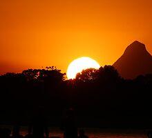 Sunset over Golden Beach,Caloundra Queensland. by Chris Thomas