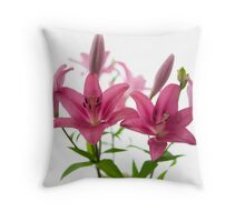 Pink Oriental Lilly Throw Pillow