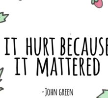 It hurt because it mattered -John Green Sticker