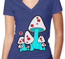 Aqua Mushrooms  Women's Fitted V-Neck T-Shirt