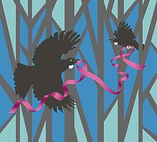 Flying Tui in Forest with Pink Ribbon by iskamontero