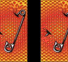 Sookie Skull Safety Pin Orange and Yellow by Sookiesooker