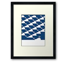 Whale pattern in Blue Ocean Framed Print