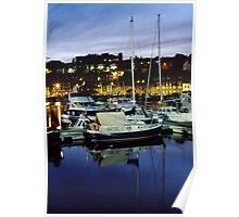 Whitby Harbour at night Poster
