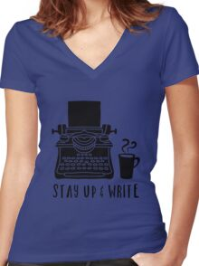 Stay Up & Write Women's Fitted V-Neck T-Shirt