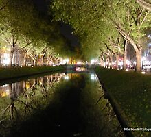 Konigsallee at Night - Dusseldorf DE  by Barberelli