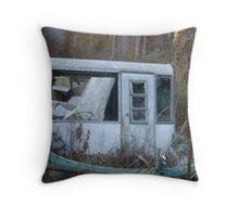 Sea of Weeds (Abandoned boat, on a hill, overgrown with weeds) Throw Pillow