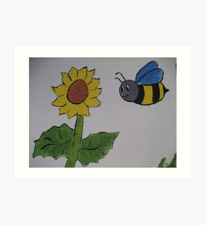 Bumble Bee and Sunflower Art Print