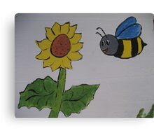 Bumble Bee and Sunflower Canvas Print