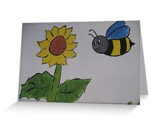 Bumble Bee and Sunflower Greeting Card