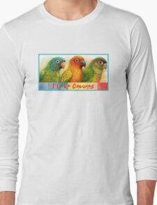 Sun blue-crowned green-cheeked conures realistic painting Long Sleeve T-Shirt