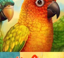 Sun blue-crowned green-cheeked conures realistic painting Sticker