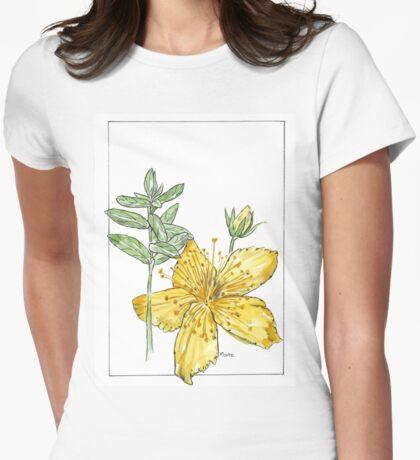 Hypericum perforatum - Botanical illustration Womens Fitted T-Shirt