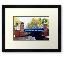 hdr image of a  blue bridge Framed Print