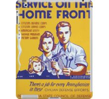 WPA United States Government Work Project Administration Poster 0315 Service on the Home Front Civillian Defense Efforts iPad Case/Skin