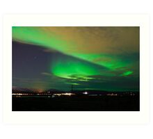 Northern lights near Reykjavik Art Print