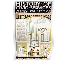 WPA United States Government Work Project Administration Poster 0110 History of Civic Services Water Gallons Daily Supply New York City Poster