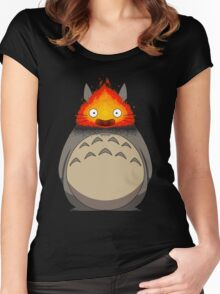 Totoro Meets Calcifer Women's Fitted Scoop T-Shirt