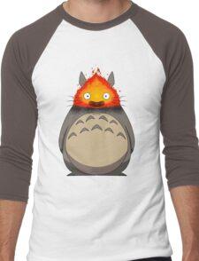 Totoro Meets Calcifer Men's Baseball ¾ T-Shirt