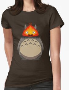 Totoro Meets Calcifer Womens Fitted T-Shirt