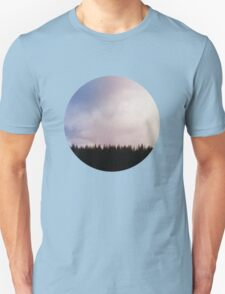 treescape, clouds sky pretty pastel landscape circle  Unisex T-Shirt
