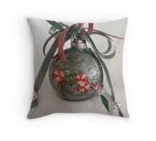 peppermint candy handpainted ornament Throw Pillow