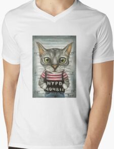 Mugshot of a cat felon arrested while attempting a bank heist Mens V-Neck T-Shirt
