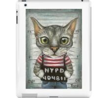 Mugshot of a cat felon arrested while attempting a bank heist iPad Case/Skin