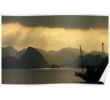 Sunset on Halong Bay, Northern Vietnam Poster
