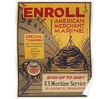 WPA United States Government Work Project Administration Poster 0740 Enroll American Merchant Marine Maritime Service Poster