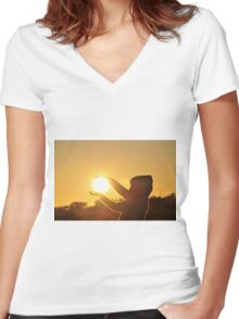 Take hold of the Sunrise Women's Fitted V-Neck T-Shirt