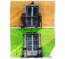 Vintage Apartment Balconies Poster