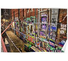 Graffiti Lane at Night Poster